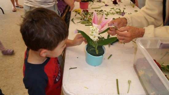 The garden club volunteers who help out at the San Diego Botanic Garden  taught both of my kids how to make floral arrangements at the annual Lady Bug Day.  This year's event is scheduled for April 20th.